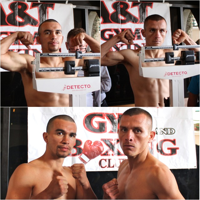(bottom) After their official weigh-ins boxers Raymond Chacon and Ali Gonzalez give the Media a little time for photos.