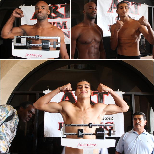(top, left) Jerome Buchanan pose for photos after his official weigh-in. (below) Manuel Ceballos beams with confidence after his official weigh-in.