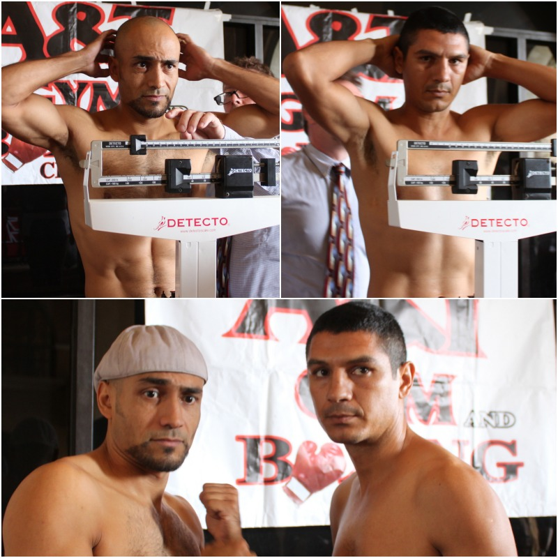 After their official weigh-ins, boxers Mario Angeles (l) and Yair Aguiar pose for photos.