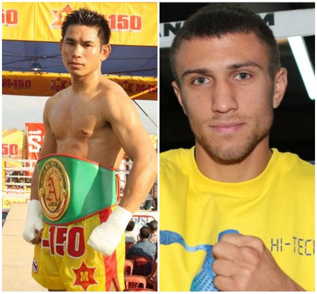 Vasyl Lomachenko (2-1, 1 KO) of Odessa, Ukraine, who first gained international renown by winning gold medals in the 2008 Beijing Olympics and the 2012 London Games as a featherweight and a lightweight, respectively, will be making his first defense of the WBO featherweight title against the No. 1 contender and mandatory challenger Chonlatarn Piriyapinyo of Thailand.