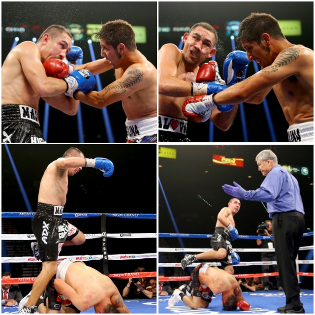 (L-R) Humberto Soto steps over John Molina Jr. after a low blow during their junior welterweight fight at the MGM Grand Garden Arena on September 13, 2014 in Las Vegas, Nevada. (Photo by Al Bello/Getty Images)