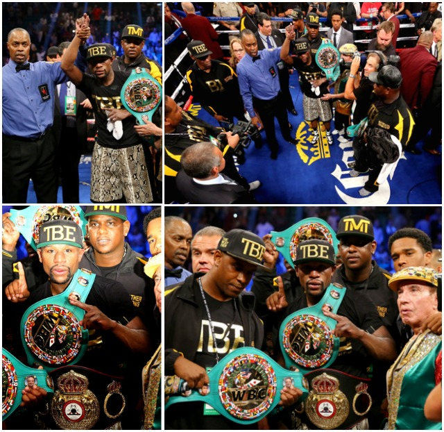 In the end, Floyd Mayweather Jr. has the championship belts hung around his waist and across his shoulders.