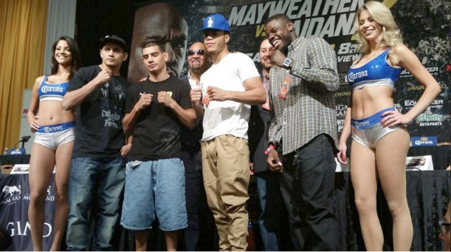 Representing Mayweather Promotions, there were (l to r) Fabian Maidana, Damian Sosa, Kevin Newman II and Andrew Tabiti.
