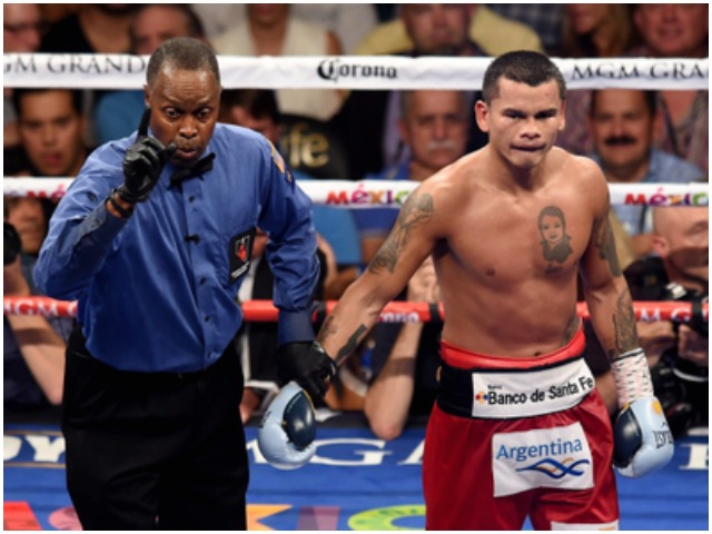 Marcos Maidana receives a point deduction for the push down.