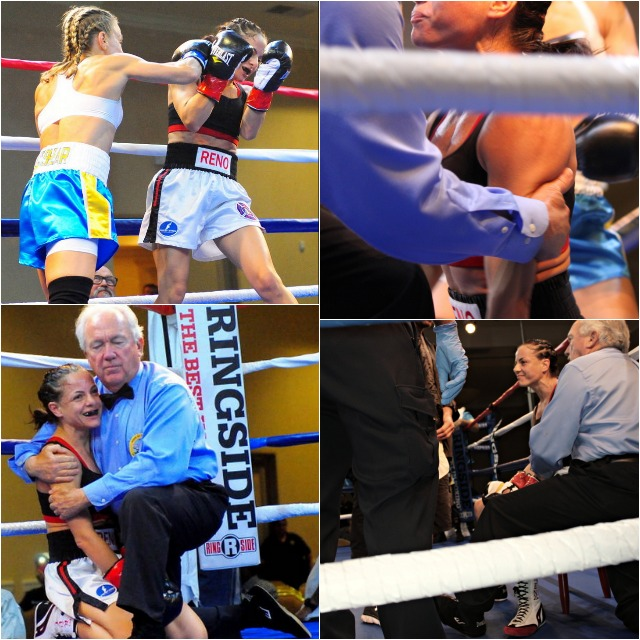In order to protect  Susan Reno, referee Pat Russell steps in immediately to stop the fight. Photos: (left) Paul Gallegos.