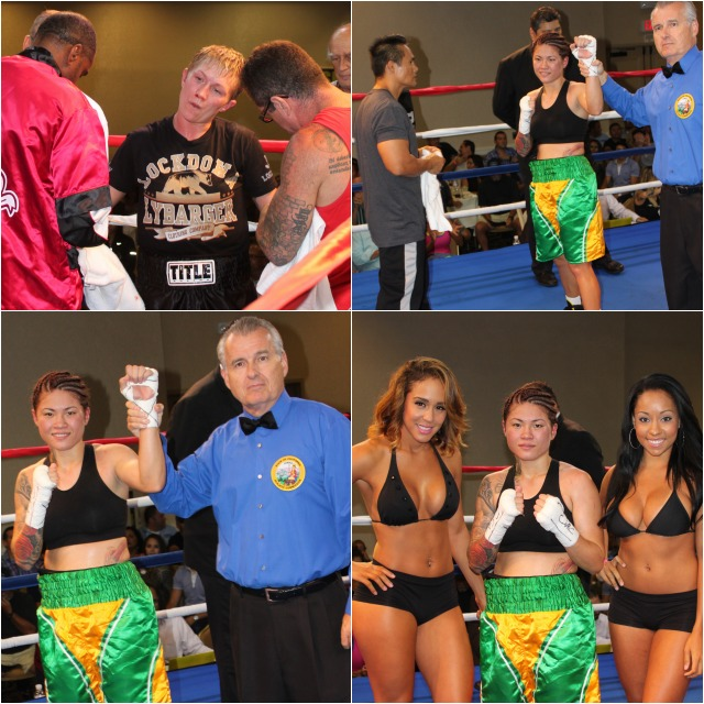 At the conclusion of her bout against Jillian Lybarger, Haley Pasion has her arm raised invictory by referee Tony Crebs. All photos: Jim Wyatt