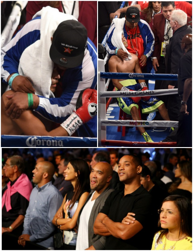 Manuel Roman is consoled as he sits in the ring after losing to Leo Santa Cruz by second-round TKO in their WBC super bantamweight title fight at the MGM Grand Garden Arena on September 13, 2014 in Las Vegas, Nevada. (Photo by Ethan Miller/Getty Images)