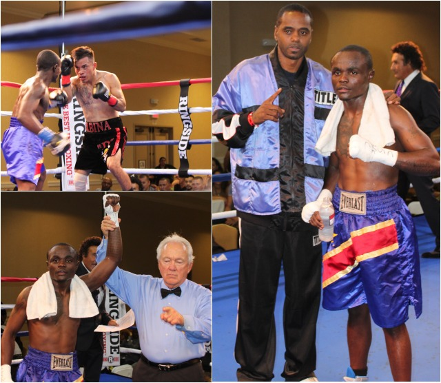 (bottom, left) Mulapi Enjani has his arm raised in victory by referee Pat Russell. Photos: Jim Wyatt