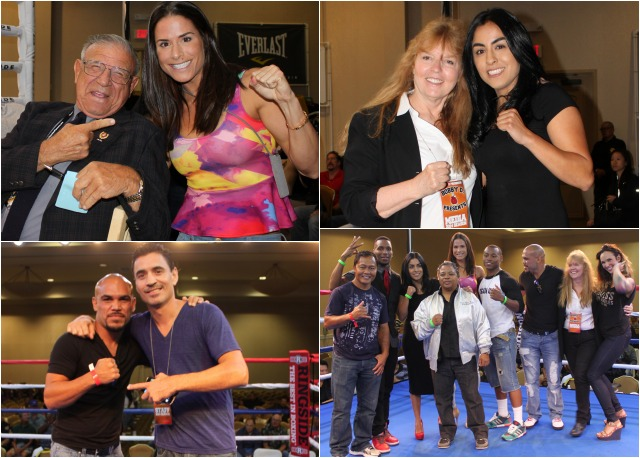 During intermission, many of the local celebrities were introduced to the crowd. (top, left) With it being judge Fritz Werner's 76th birthday Team USA member Danyelle Wolf went to congratulate the revered boxing judge. Photos: Jim Wyatt