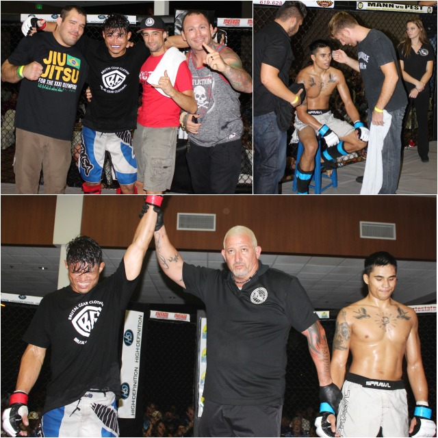 At the conclusion of Bout #6, it was Diego Rivera (l) gaining the TKO victory over Peter Pellerito. Photos: Jim Wyatt