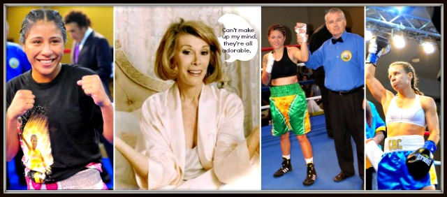 "To honor the iconic Joan Rivers who passed away on Thursday, we've added a photo of Rivers along side the ladies who were victorious in their boxing matches on Thursday night. (l to r) Kenia Enriquez, (Joan Rivers), Haley Pasion and Jolene Blackshear, all present, past and future champions. With River's arms outstretched showing indecision, it's likely she would have had a hard time picking La Diva del noche, the Diva of the night from the boxing card dubbed, ""San Diego Fights: Dangerous Divas."" It's possible she would have been speechless for the first time in her life. The former dress designer, standup comic, who concluded her career as the leader of that snidely, often venomous group known as TV's Fashion Police, was truly a favorite in the entertainment world. How ironic, she herself wore a slight variation of the same all-black outfit every day with the Donna Karan sweater, Chanel slacks, Manolo boots, and never ever went out the door without those huge sunglasses. RIP dear lady."