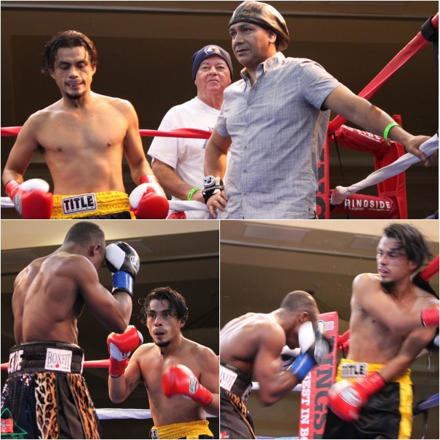 """This one-sided affair saw Isaac """"Royal Storm"""" Dogboe  fromLondon, England by way of Accra, Ghana land power shot after power shot on the defenseless 38 year-old Ronald Rodriguez of Pomona, CA. Photos: Jim Wyatt"""