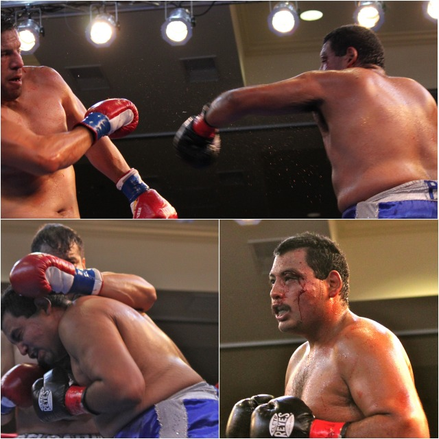 "(top) Chula Vista's Joe ""The Bull"" Delgadillo got an unexpected battle royale from Tijuana's Edgar ""Porky"" Najera. Photos: Jim Wyatt"