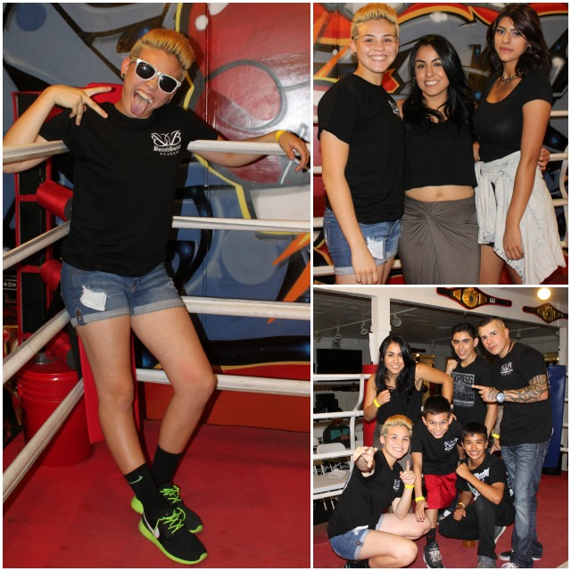 (left) Is that Miley Cyrus acting goofy or USA Amateur Boxing and PAL Champion Andrea Medina doing another one of her impersonations? (top, right) Celebrity guest NABF Strawweight champ Amaris Quintana (c) was on hand to present the winning belts.