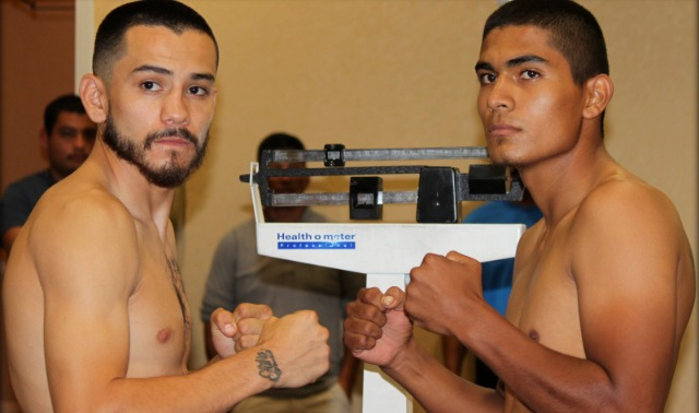 """San Diego's Emmanuel """"Renegade"""" Robles (l) weighed in at 139.75 lbs. while his opponent Carlos """"Guerrero"""" Valenzuela (r) of Phoenix, Arizona by way of Ciudad Obregon, Mexico, weighed 140 lbs. Photo: Jim Wyatt"""