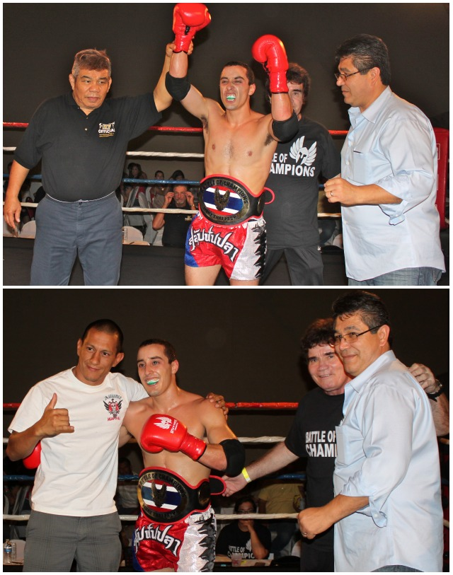 (bottom) After settling down, the victorious champion receives congratulations from the show's organizers and his coach Juan Luis Miranda.