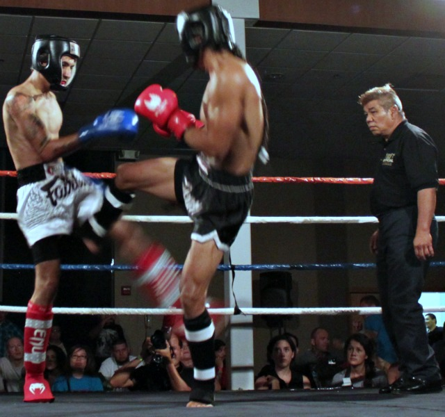 "In Bout #3, it was the 26 year-old veteran Allan Gabriel (5'7"" tall and 140 lbs.) of Extreme Power, Oceanside, CA, giving the 21 year-old rookie Christian Rivera (5'10"" tall, 135 lbs.) from Victory MMA, Point Loma"