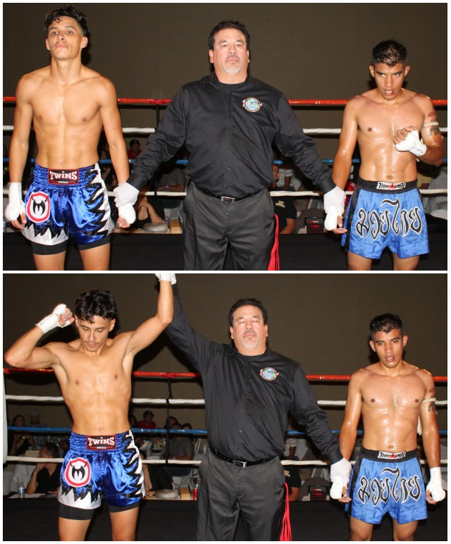At the conclusionof Bout #5, Rolando Duron (l) has his arm raised in victory after defeating Juan Campos (r).