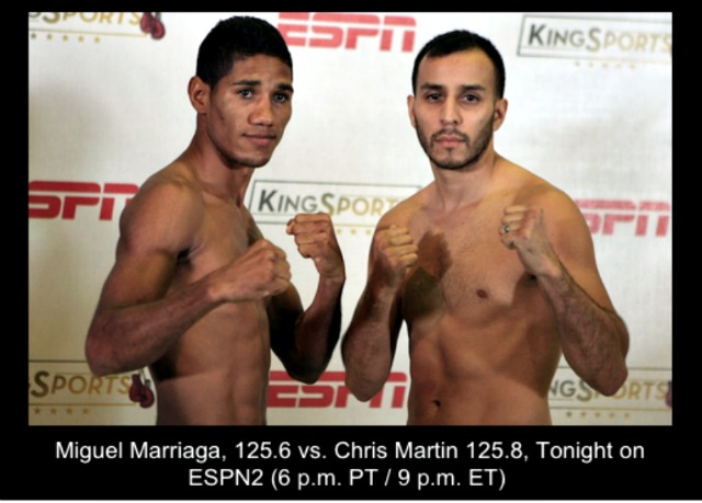 Photo of Martin and Marriaga taken yesterday at their weigh-ins in Santa Monica, CA. Photo: MP SPORTS IMAGES