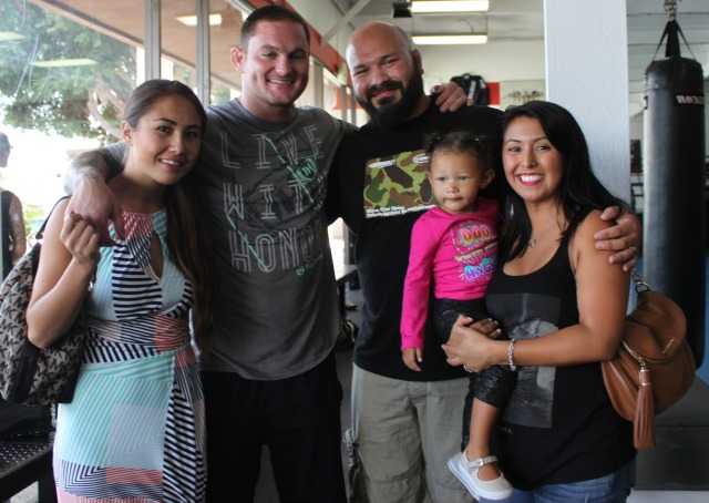 Attending Saturday's get-together was Frank Salgado (second from the) and pro fighter Frank Lister and his wife.