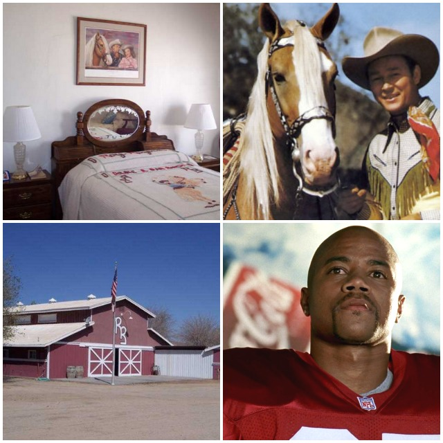 Photos above (left to right, top to bottom) show Roy Roger's bed, Roy with his trusty horse Trigger, the big red barn and finally Cuba Gooding Jr. who grew up in town where the population has reached  120,000.