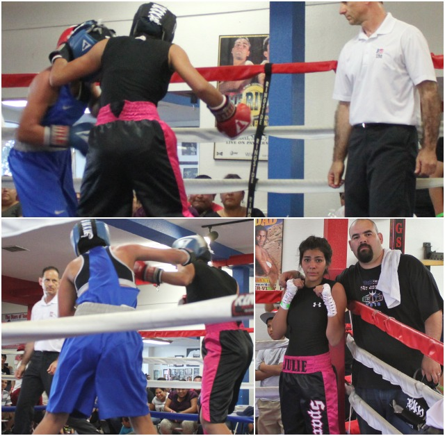 (top left photo) Julie Munoz knew a thing or two about stretching the rules. Here we see her holding Juarez head to lineup a hard right to the head.