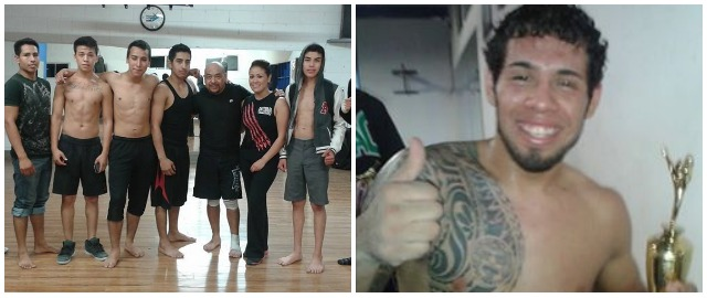 (photo, left) the The Mojac Fight Team with their coach, Master  Ernesto Galan (Ernesto Galan Tachiquin of the Mojac Gym, Tijuana
