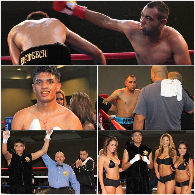 Alberto Fundora (c) and his support group enter the ring for his bout against Fernando Najera.