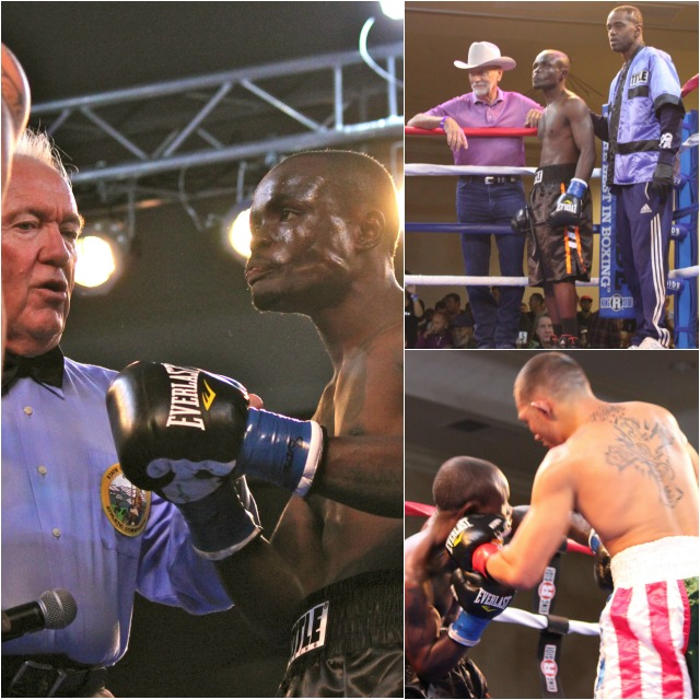 (top, right) Mulapi Enjani has a stern look on his face as he looks over at his opponent Don Jose. Photos: Jim Wyatt
