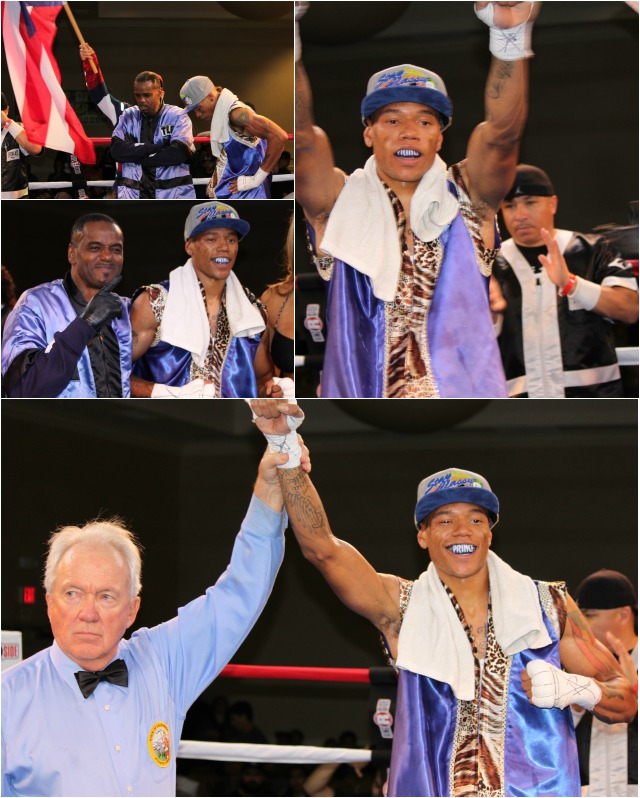 "(bottom) At the conclusion of his bout with Jose Iniguez, Hall of Fame referee Pat Russell raises the arm of the victorious Prince ""Tiger"" Smalls."