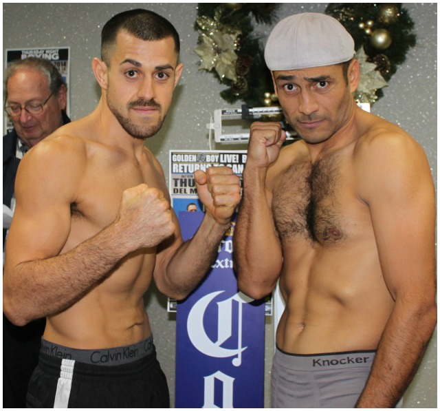 On the scales Brian Nevarez weighed 144.5 while Mario Angeles weighed 146.