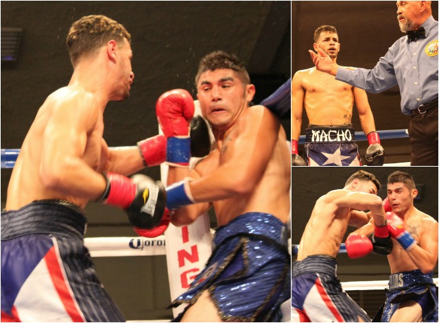 "(left) Another of the action bouts had Elias Espadas (r) doing battle against Carlos ""Macho"" Lopez (l). Photos: Jim Wyatt"