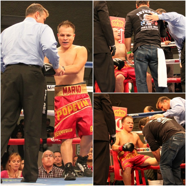 Right out of the shoot, Mario Hermosillo ends up gimpie from a badly sprained ankle and the fight doctor is called to look it over.