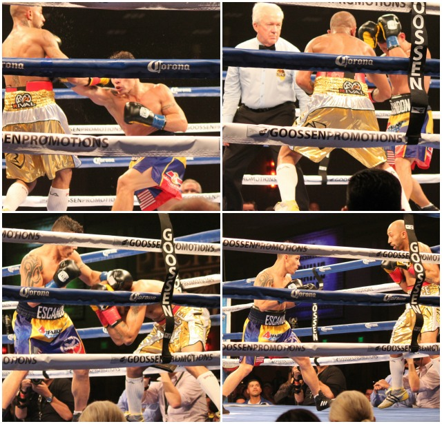 "(bottom, right) In Bout 7, the elusive, showboating southpaw Tyson ""Prince of Hali"" Cave of Halifax, Nova Scotia, Canada found himself in a hotly contested battle for the Interim WBA World Bantamweight title against Oscar Escandon of Ibague, Columbia. All photos: J. Wyatt"