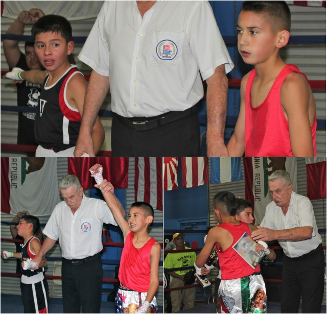 In Bout 1 it was Diego Luna of Bound Boxing, Chual Vista, CA securing the victory over Miguel Hernandez of Bad Boyz Boxing, Kansas in the 9/10 year old, 75 pound grouping.