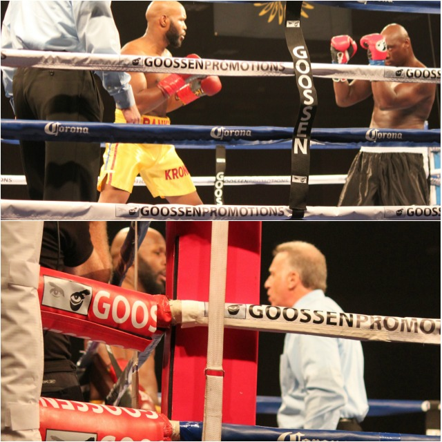 (bottom photo) Referee Jack Reiss talks with Johnathan Banks about his earlier knockdown.
