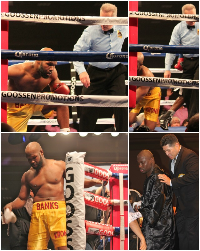After the second knockdown, the referee determined that Johnathan Banks  was unable to continue.