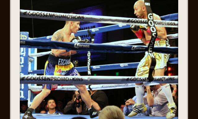 "On Thursday evening at the Pechanga Resort & Casino in Temecula, CA, the showboating southpaw Tyson ""Prince of Hali"" Cave from Halifax, Nova Scotia, Canada (gold trunks) put on quite a show in his hotly contested battle with Oscar Escandon from Ibague, Colombia. They were fighting for the Interim WBA World Bantamweight title."