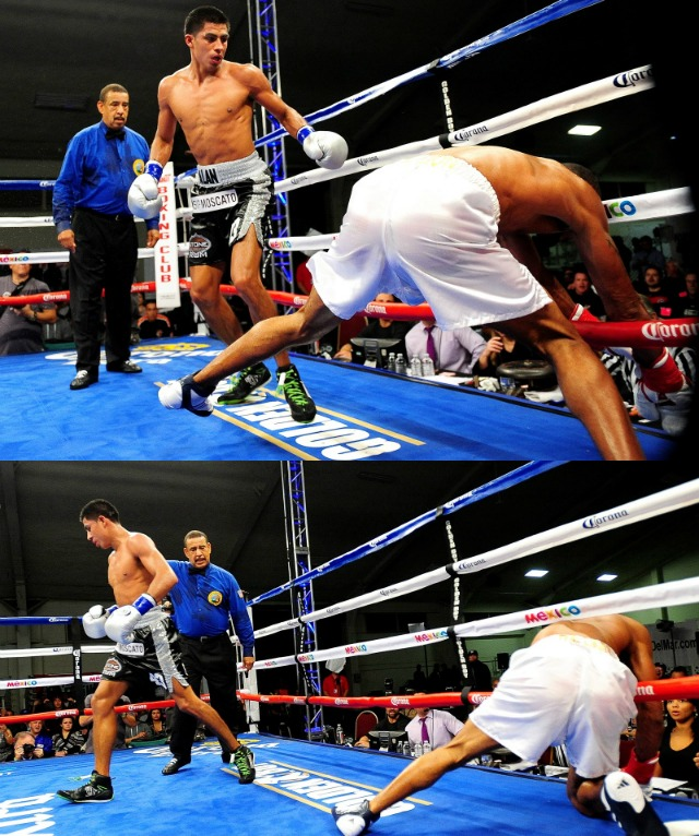 After Alan Sanchez's short right came the left hook that sent Ed Paredes into the ropes. Photos: Paul Gallegos