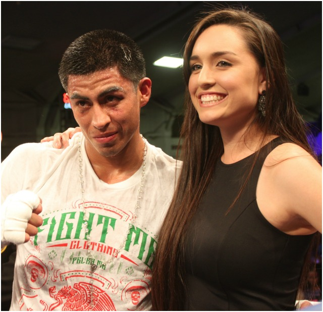 Alan Sanchez and his gorgeous girlfriend Jessica Koehne pose for photos after the big victory.