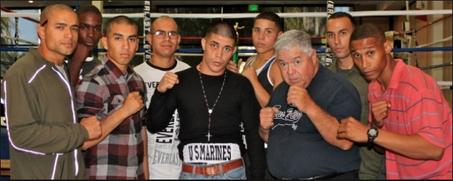 The Marine Corps Boxing Team from Camp Pendleton in Oceanside, CA, shown here with Lou Messina, also competed at the San Diego Four Points By Sheraton Hotel.
