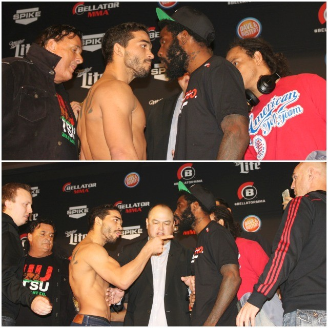 "Fireworks at the weigh-in: After their official weigh-in, Patricio ""Pit Bull"" Freire looked every bit of an angry pit bull when asked to face his opponent for the cameras. At first, Daniel Straus, the more reserved of the two, took Freire's snarling in stride, but then things escalated from there after Freire continued his taunting."