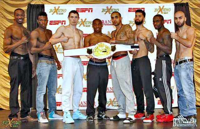 Participants in the Boxcino 2015 Jr. Middleweight Tournament (l to r) John Thompson, Simeon Hardy, Stanuslav Skorokhod, Brandon Adams, Alex Perez, Ricardo Pinell, Michael Moore and Vito Gasparyan.