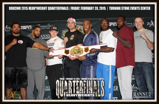 At today's weigh-ins, the eight  heavyweights to compete in the  osing for the media we have (l to r)