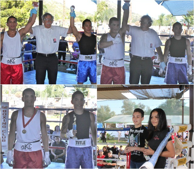 There was a lot of confusion when it came time to announce the winner of Bout #6. At first the referee, Will White, raised Isaac Colunga's arm and then it was Nico Marchan's arm being raised. The charming young ladies standing nearby to present the trophy and medal to the combatants are both present or former USA National Champions - Jessica Juarez (r) and Andrea Medina (l). They too were surprised by the turn of events in this particular bout.