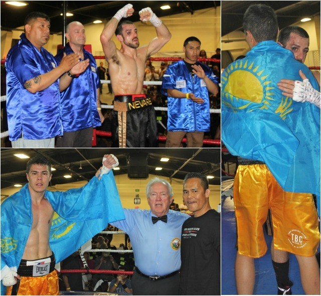 (photo bottom) Hall of Fame referee Pat Russell raises the arm of the victorious Duaren Niyazbayev after he handed Brian Nevarez his first loss On Friday evening at the Activity Center on the Del Mar Fairgrounds.