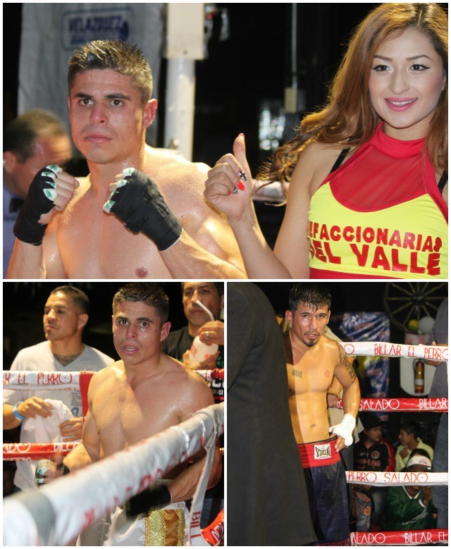 (photo, top) Gilberto Huidobro along with the ring card gal pose for photos after the victory.