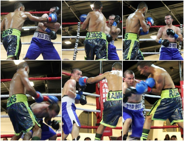 The elusive Raymond Chacon (blue trunks) is a hard target to hit. Photos: Jim Wyatt