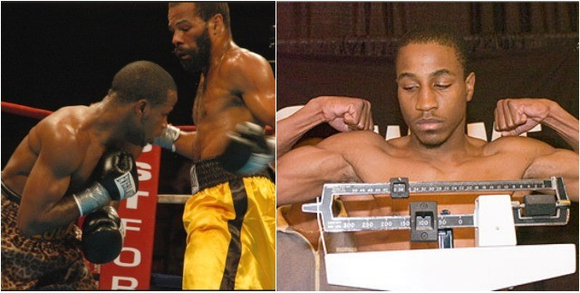 """(photo, left) It appears welterweight Marteze """"Too Sweet"""" Logan will soon be on the receiving end of aleft hook. Marteze's younger brother, Donnell Logan, is shown on the scales before a recent fight."""