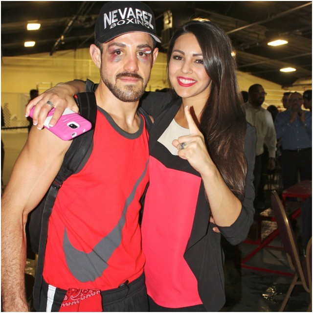 At the conclusion of his nonstop battle with Dauren Niyazbayev, Brian Nevarez is joined by his number supporter Sandra Chanel Carlon.
